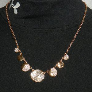 """Copper & Bling Disc Necklace - 18"""""""